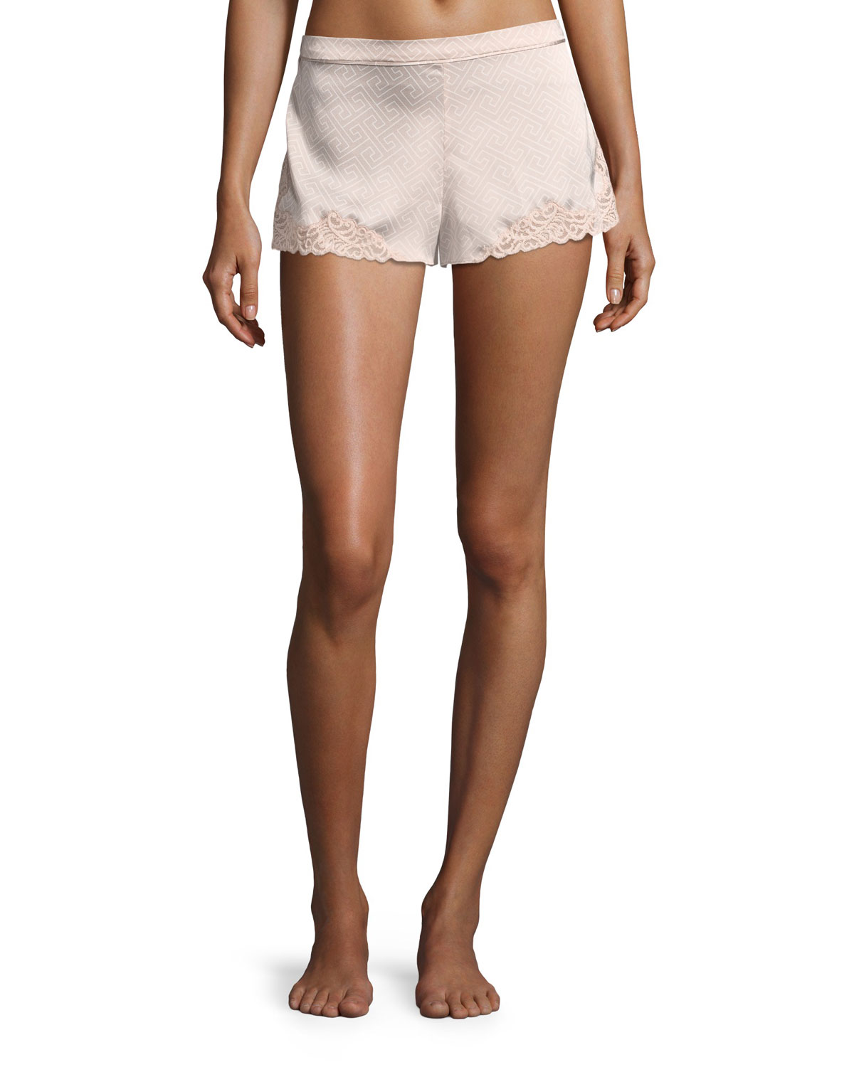 Labyrinth-Print Lace-Trim Satin Lounge Shorts