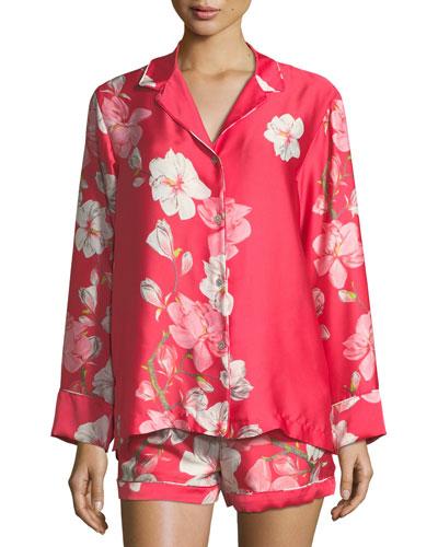 Magnolia Print Satin Shortie Pajama Set