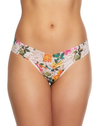 Melissa Floral-Print Low-Rise Lace Thong
