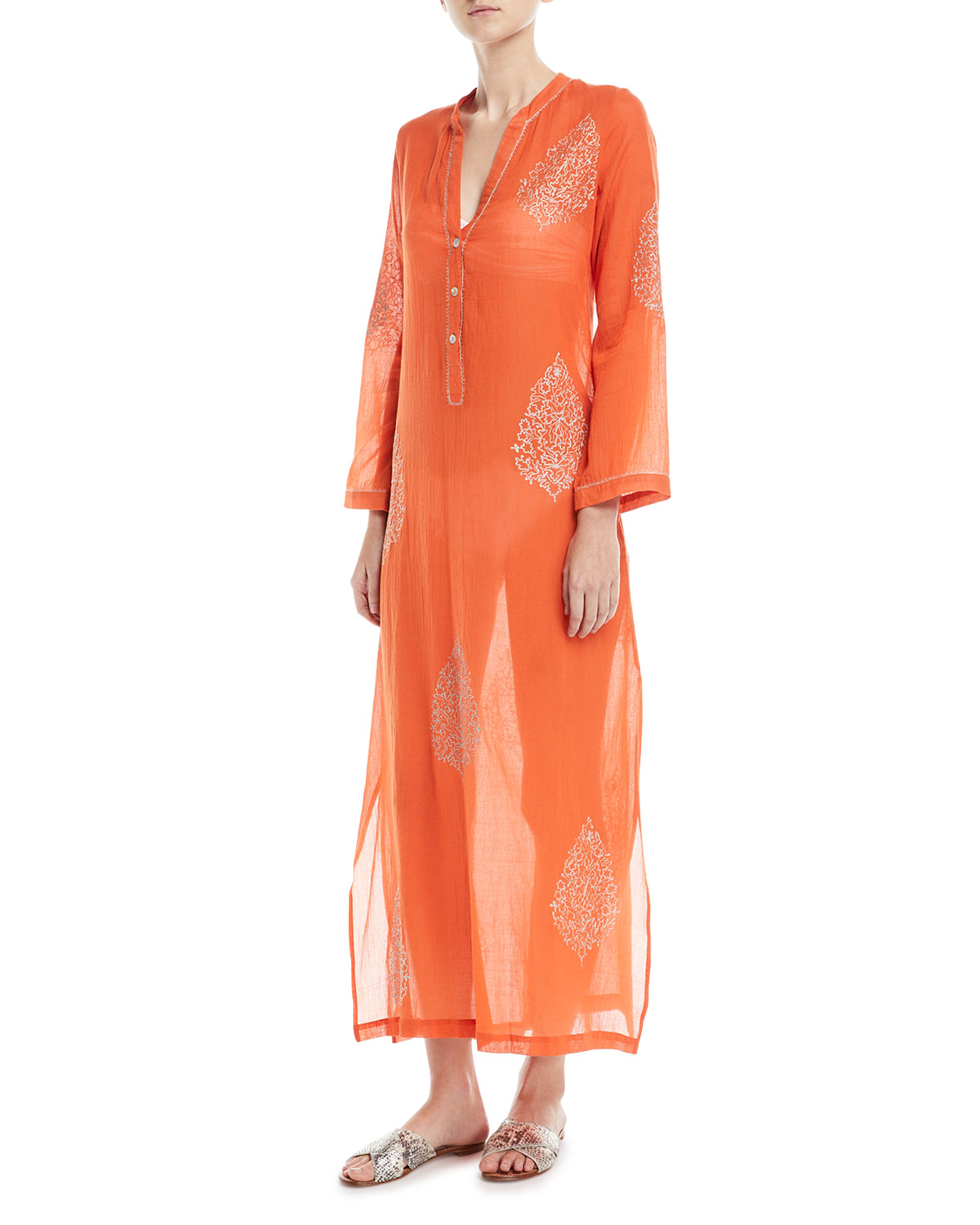 Daios V-Neck Cotton Gauze Kaftan Coverup with Embroidery