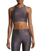 Peek-A-Boo Metallic Racerback Sports Bra