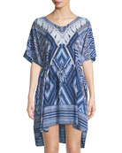 Desert-Tribe Printed Kaftan Coverup, One Size