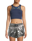 Heroine Sport Flex V-Back Sports Bra with Metallic