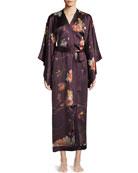 Floral-Print Silk Kimono Caftan