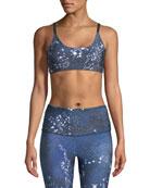Constellation-Print Elastic Sports Bra