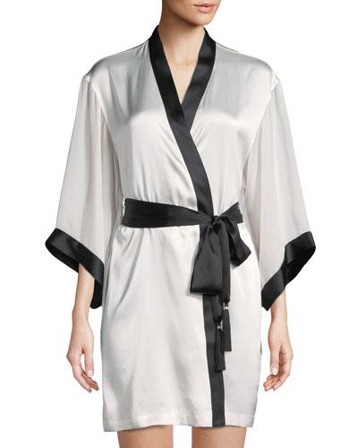 Sleek Contrast Trim Silk-Blend Short Robe