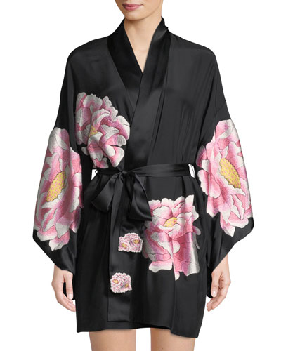 Radiant Peony Silk Short Robe