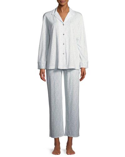 Nara Tonal-Print Jersey Classic Pajama Set