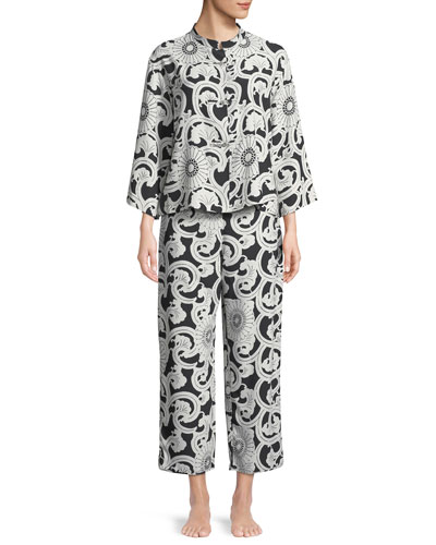 Silk Road Mandarin-Collar Satin Pajama Set
