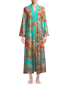 Graphic-Print Beaded Zip-Front Caftan