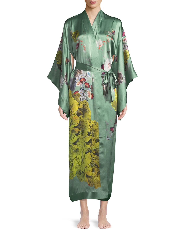 Floral Peacock Long Kimono Robe