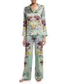 Floral-Print Silk Long Pajama Set