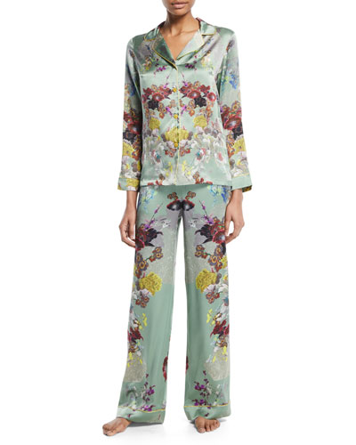6877e6e860 Quick Look. Meng · Floral-Print Silk Long Pajama Set