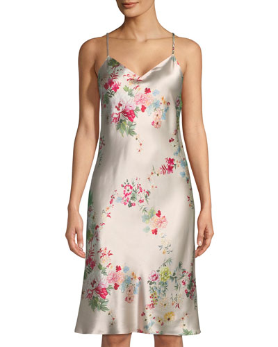 Perennial Floral-Print Silk Nightgown
