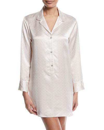 Edo Long-Sleeve Silk Sleepshirt