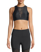 Briana High-Neck Lace-Front Sports Bra