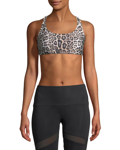 Chic Strappy Crisscross  Sports Bra, Leopard-Print