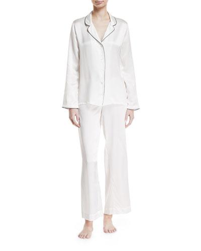 Bailey Piped Silk Pajama Set
