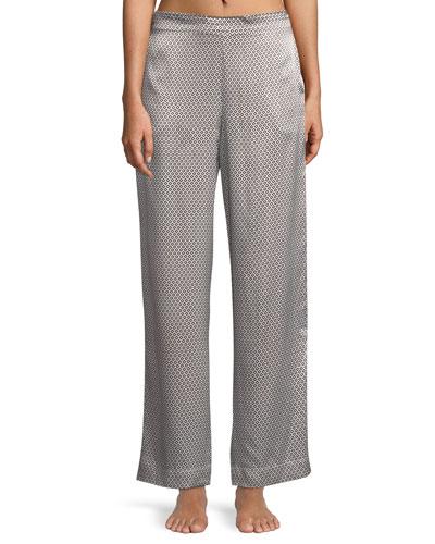 Monochrome Geometric-Print Wide-Leg Silk Pajama Pants