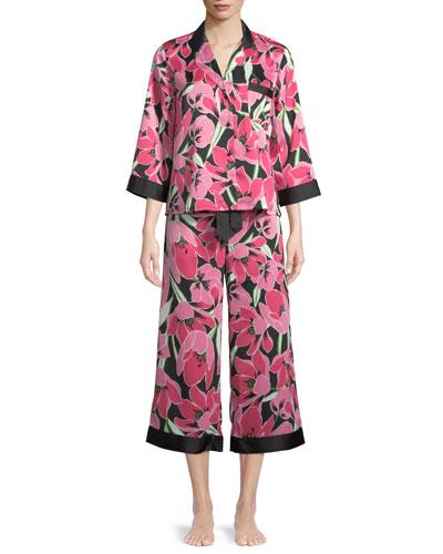 tropical floral-print classic pajama set