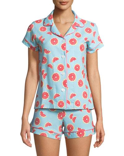 Grapefruit Shortie Pajama Set