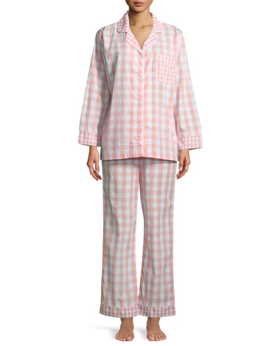 Gingham Long-Sleeve Classic Pajama Set