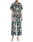 Daria Apollo Graphic-Print Silk Pajama Set