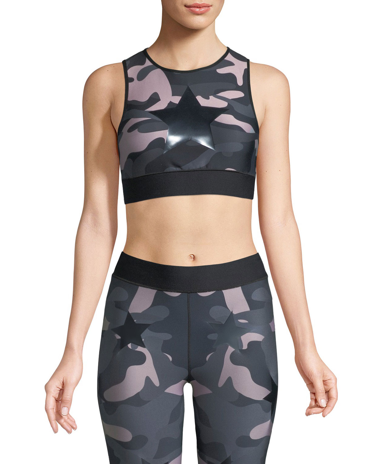 Knockout Appliquéd Camouflage-Print Stretch Sports Bra in Black