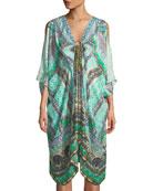 Split-Sleeve Embellished Kaftan Coverup, One Size