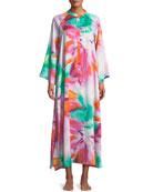Paraiso Watercolor-Print Zip-Front Caftan, Plus Size