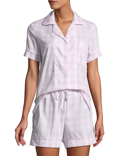 Tonal Gingham Shorty Pajama Set