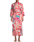 Obi Crane Graphic Satin Robe