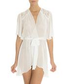 Rania Sheer Chiffon Short-Sleeve Robe