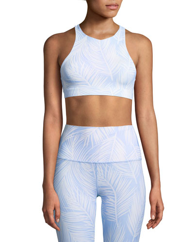 Printed High-Neck Racerback Sports Bra
