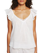 Butterfly-Sleeve Cotton Lounge Top