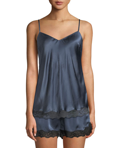 Lace-Trim Silk Camisole