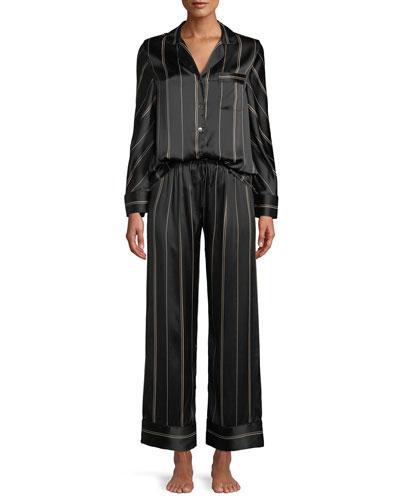 1c3aa4ab8b Quick Look. Neiman Marcus · Pinstripe Two-Piece Pinstripe Silk Pajama Set