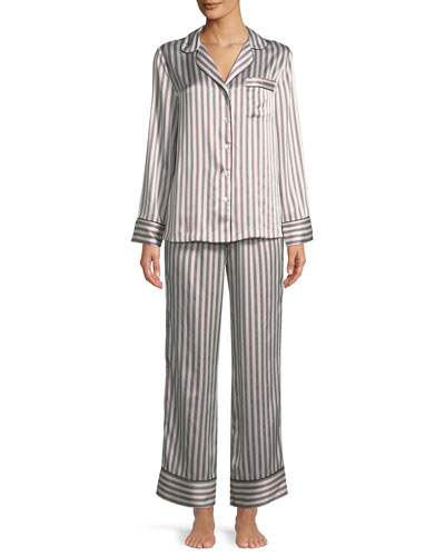 cb915adeaf Quick Look. Neiman Marcus · Two-Piece Candy Stripe Silk Pajama Set