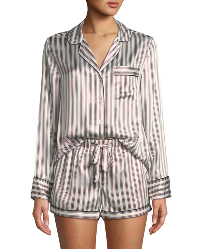 95bb45e03f Quick Look. Neiman Marcus · Candy Stripe Silk Short Pajama Set. Available  in White ...