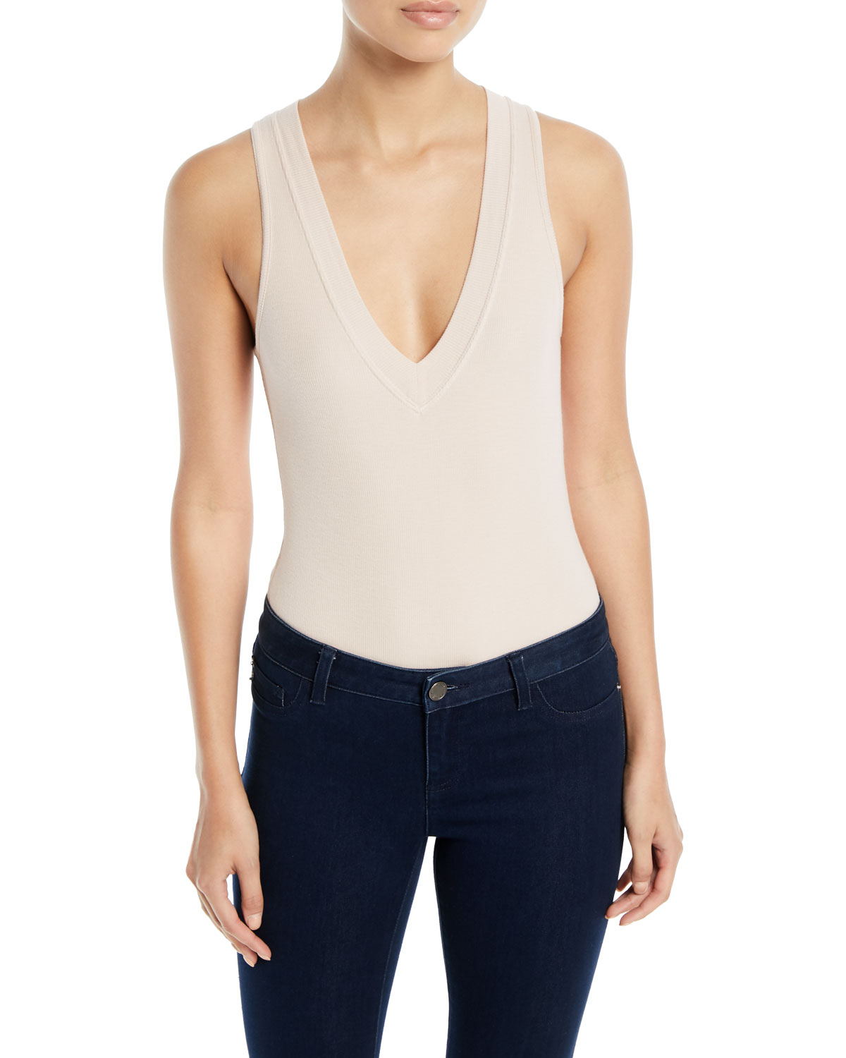 Ribbed Plunge-Neck High-Leg Bodysuit
