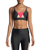 Lanston Emerson Geometric Strappy Sports Bra