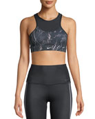 Nike Swoosh High-Neck Feather-Print Sports Bra
