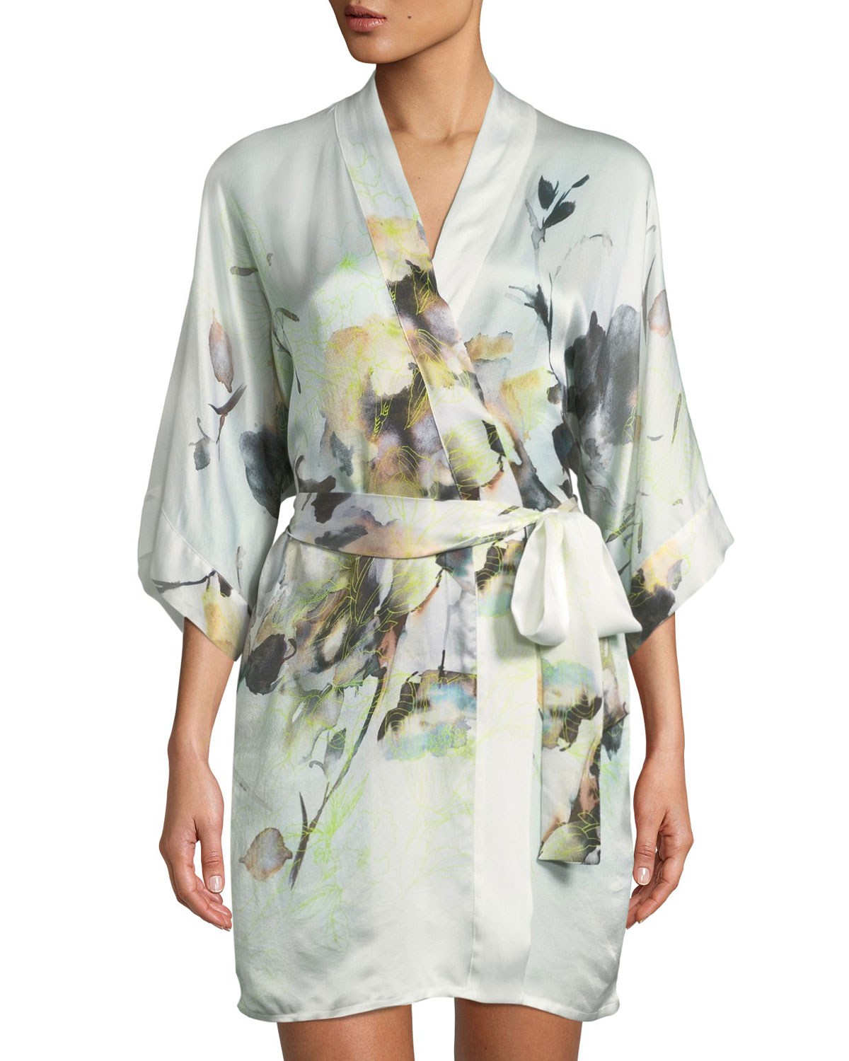 CHRISTINE DESIGNS Limelight Short Silk Robe in Multi Pattern