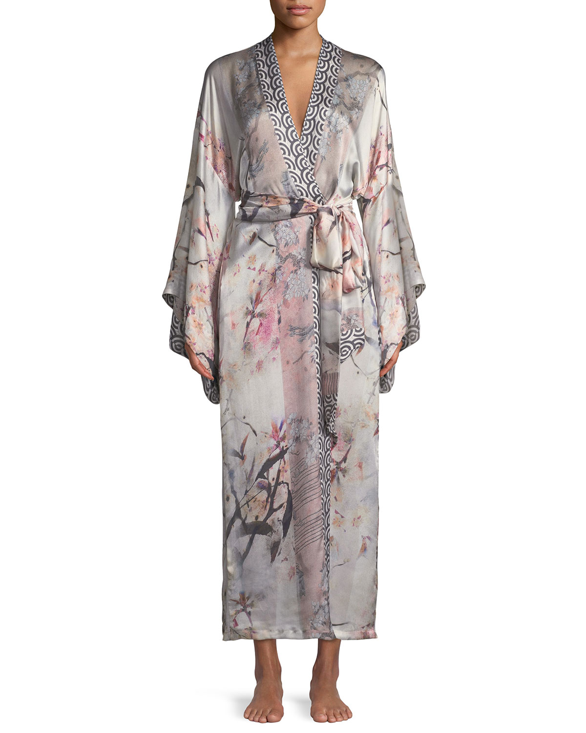 Nightingale Long Floral-Print Silk Robe in Multi Pattern
