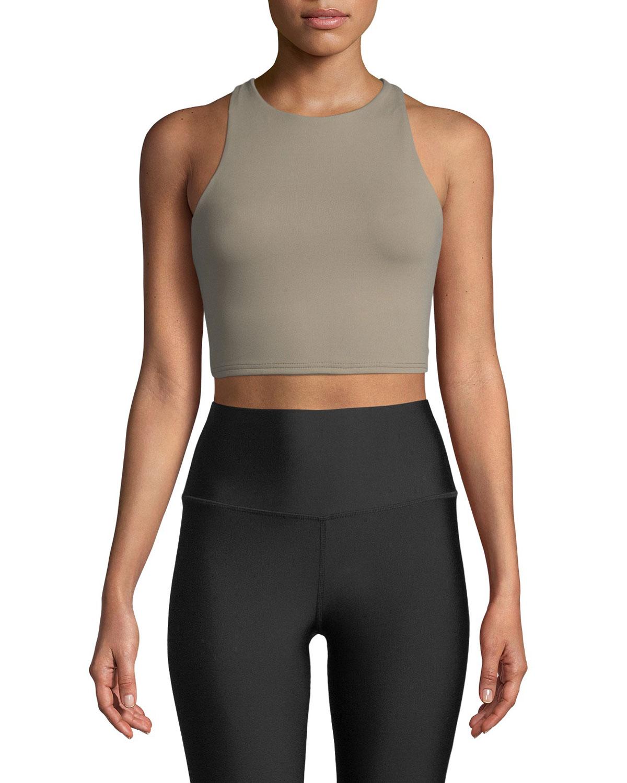 4f772b57d6ceb ALO YOGA Movement High-Neck Lace-Up Back Performance Sports Bra, Neutrals