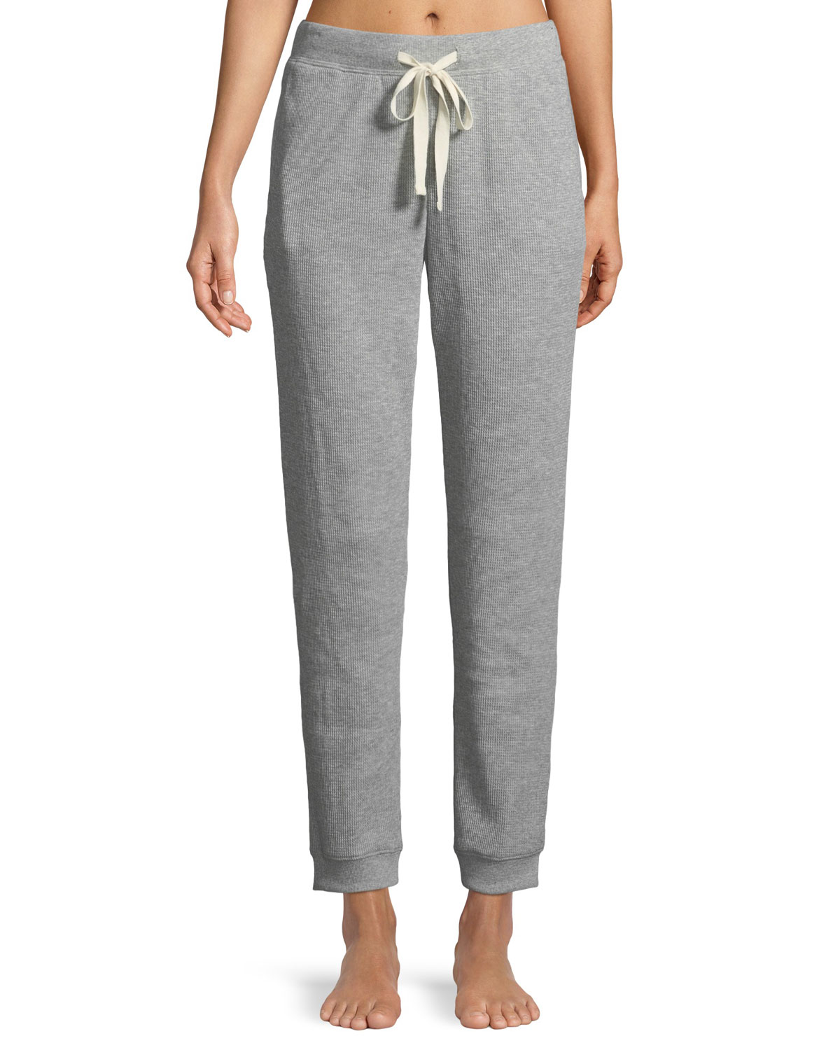 Edie Ribbed Cotton-Blend Jersey Track Pants, Gray