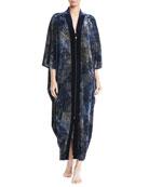 Diamond Tea Gown Geometric-Print Zip-Front Velvet Lounge Caftan