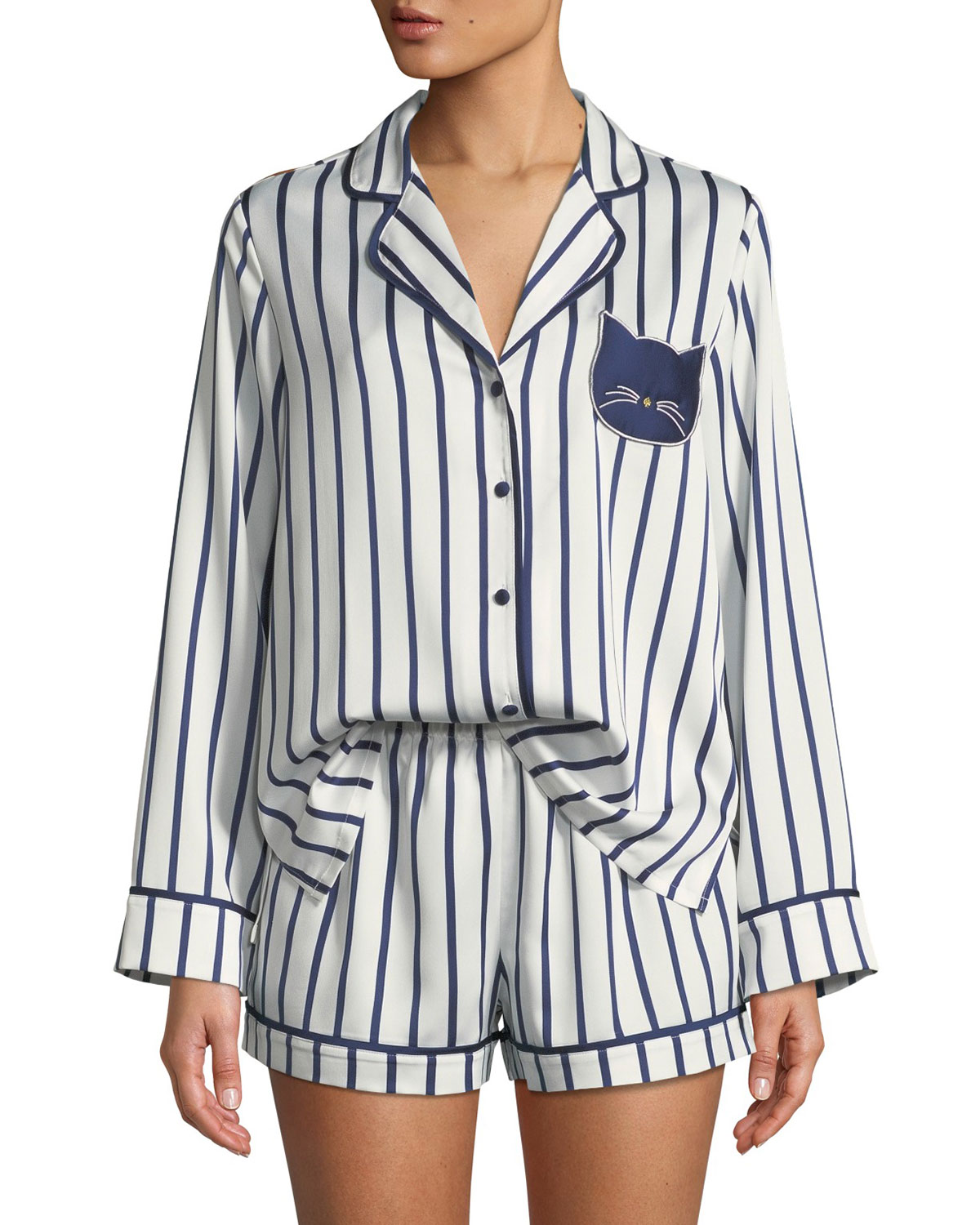 striped short pajama set with cat face