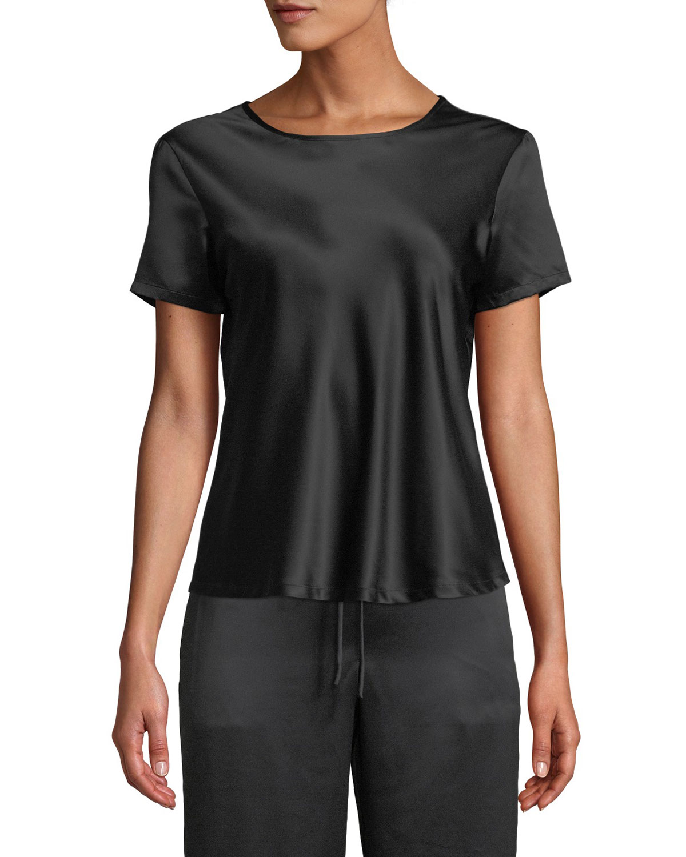 Natori Shorts FEATHERS SHORT-SLEEVE SATIN TOP
