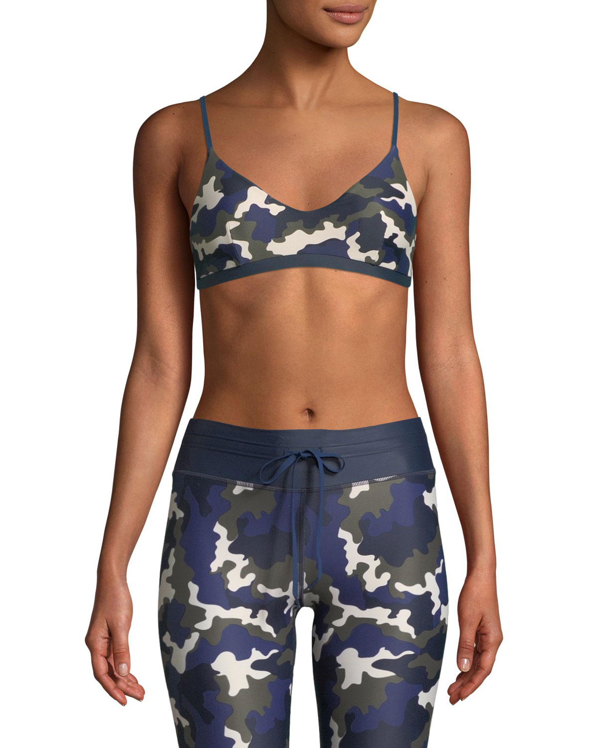 Zoe Camouflage-Print Stretch Sports Bra in Army Green